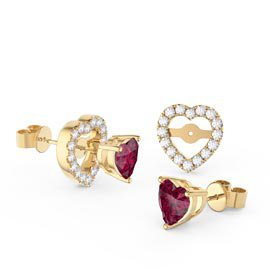Charmisma Heart Ruby and White Sapphire 18ct Gold Vermeil Stud Earrings Halo Jacket Set