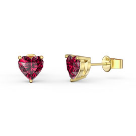 Charmisma 1ct Ruby Heart 9ct Yellow Gold Stud Earrings