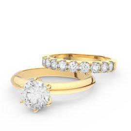 Unity 1.5ct White Sapphire 18ct Yellow Gold Engagement and Half Eternity Wedding Ring Set
