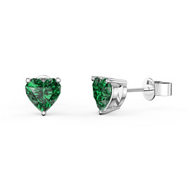 Charmisma 1ct Emerald Heart 18ct White Gold Stud Earrings