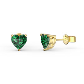 Charmisma 1ct Emerald Heart 18ct Gold Vermeil Stud Earrings