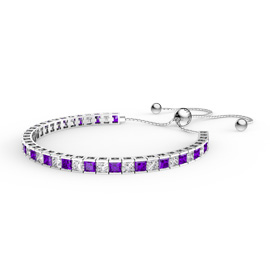 Princess Amethyst CZ Rhodium plated Silver Fiji Friendship Tennis Bracelet