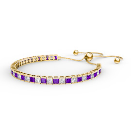 Princess Amethyst CZ 18ct Gold plated Silver Fiji Friendship Tennis Bracelet