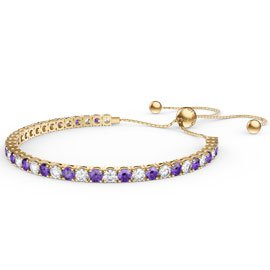 Eternity Amethyst CZ 18ct Gold plated Silver Fiji Friendship Tennis Bracelet