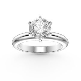 Unity 1ct White Sapphire Classic Solitaire Platinum plated Silver Proposal Ring