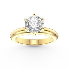 Unity 1ct White Sapphire Classic Solitaire 18ct Gold Vermeil Proposal Ring