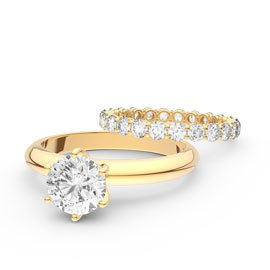Unity 2.5ct White Sapphire Full Eternity 18ct Gold Promise Engagement Wedding Ring Set (H YELLOW GOLD)