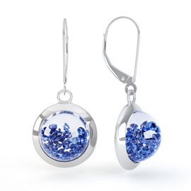 Sapphire Dome 2ct Blue Sapphire 18ct White Gold Earrings