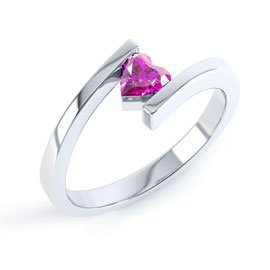 Combinations Pink Sapphire Heart Stacking Silver Ring
