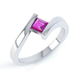 Combinations Pink Sapphire Square Stacking Silver Ring