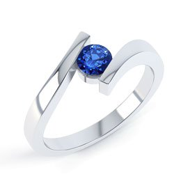 Combinations Blue Sapphire Round Silver Stacking Ring