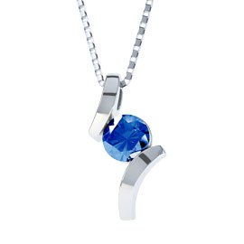 Combinations Blue Sapphire Round Silver Pendant