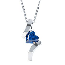 Combinations Blue Sapphire Heart Silver Pendant