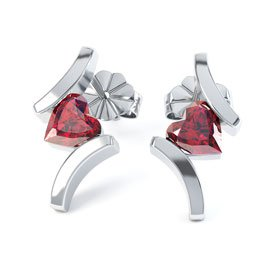 Combinations Ruby Heart Rhodium plated Silver Earrings