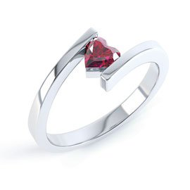 Combinations Ruby Heart Stacking Silver Ring