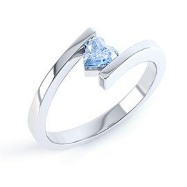 Combinations Aquamarine Heart Stacking Silver Ring