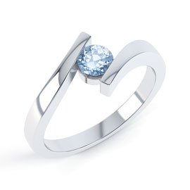 Combinations Aquamarine Round Stacking Silver Ring
