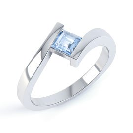 Combinations Aquamarine Square Stacking Silver Ring