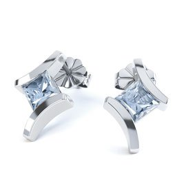 Combinations Aquamarine Square Rhodium plated Silver Earrings