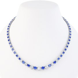 Eternity Sapphire CZ Rhodium plated Silver Tennis Necklace