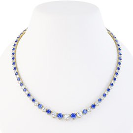Eternity Sapphire CZ 18ct Gold plated Silver Tennis Necklace