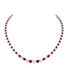 Eternity Ruby CZ Rhodium plated Silver Tennis Necklace