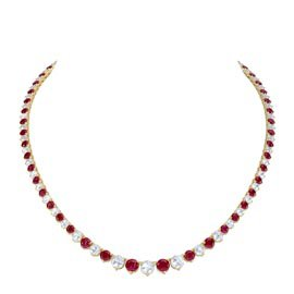 Eternity Ruby 18ct Gold Vermeil Tennis Necklace