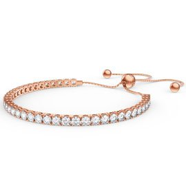 Eternity Diamond CZ 18ct Rose Gold plated Silver Fiji Friendship Tennis Bracelet