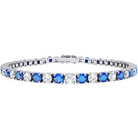 Eternity Sapphire and Diamond 2.6ct GH SI 18ct White Gold Tennis Bracelet