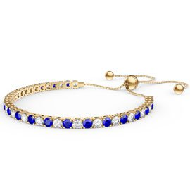 Eternity Sapphire CZ 18ct Gold plated Silver Fiji Friendship Tennis Bracelet