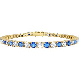Eternity Blue and White Sapphire 18ct Gold Vermeil Tennis Bracelet