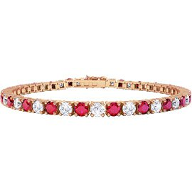Eternity Ruby and White Sapphire 18ct Rose Gold Tennis Bracelet