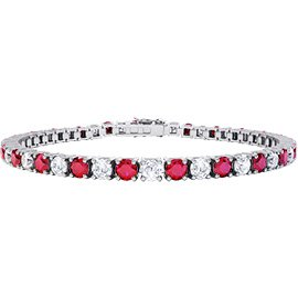 Eternity Ruby and White Sapphire 18ct White Gold Tennis Bracelet