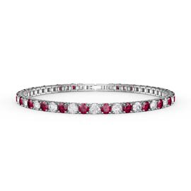 Eternity Ruby CZ Rhodium plated Silver Tennis Bracelet