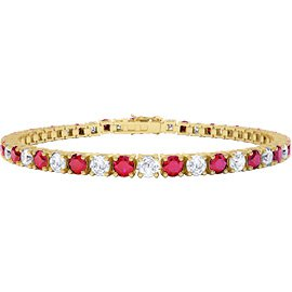 Eternity Ruby and Diamond 2.6ct GH SI 18ct Yellow Gold Tennis Bracelet