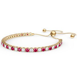 Eternity Ruby CZ 18ct Gold plated Silver Fiji Friendship Tennis Bracelet