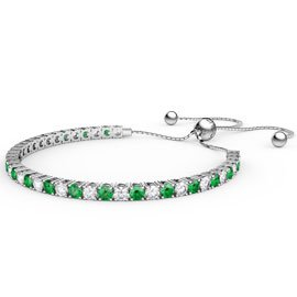 Eternity Emerald CZ Rhodium plated Silver Fiji Friendship Tennis Bracelet