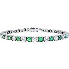 Eternity Emerald and White Sapphire Platinum plated Silver Tennis Bracelet