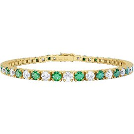 Eternity Emerald and White Sapphire 18ct Yellow Gold Tennis Bracelet