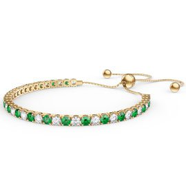 Eternity Emerald CZ 18ct Gold plated Silver Fiji Friendship Tennis Bracelet