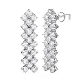 Eternity Three Row Diamond CZ Rhodium plated Silver Drop Earrings