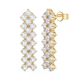 Eternity Three Row Diamond CZ 18ct Gold plated Silver Drop Earrings