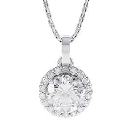 Eternity 1ct White Sapphire Halo Platinum plated Silver Pendant