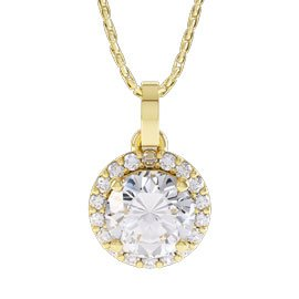 Eternity 1ct White Sapphire Halo 18ct Gold Vermeil Pendant