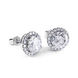 1c707f69180ba8 Eternity 2ct White Sapphire Halo Platinum plated Silver Stud Earrings