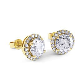 Eternity 2ct White Sapphire Halo 9ct Yellow Gold Stud Earrings