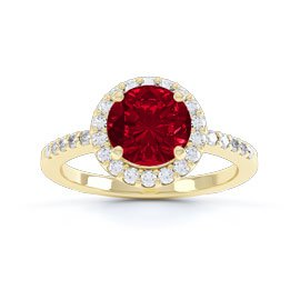 Eternity 1ct Ruby Halo 9ct Gold Promise Ring