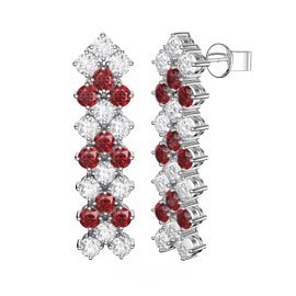 Eternity Three Row Ruby and Diamond CZ Silver Drop Earrings