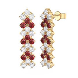 Eternity Three Row Ruby and Diamond CZ 18ct Gold plated Silver Drop Earrings