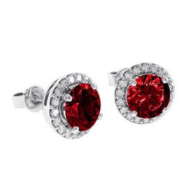 Eternity 2ct Ruby Halo Platinum plated Silver Stud Earrings
